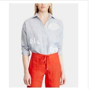Linen Striped Blue White Shirt Ralph Lauren Patch